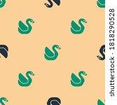 Green And Black Swan Bird Icon...