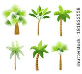 decorative palm trees icons set ...   Shutterstock .eps vector #181832558