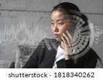 businesswoman speaks phone and...
