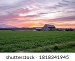 Vermont farm at a summer sunset