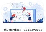 online schedule. cartoon... | Shutterstock .eps vector #1818390938
