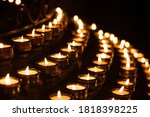 Close Up Shot Of Prayer Candles ...
