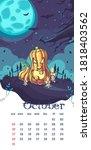 2021 calendar october. funny...   Shutterstock .eps vector #1818403562