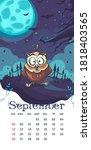 2021 calendar september. funny...   Shutterstock .eps vector #1818403565