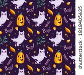 cute white ghost cats and... | Shutterstock .eps vector #1818405635