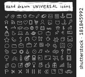 100 hand drawn universal icons | Shutterstock .eps vector #181845992