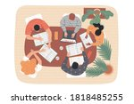 group of students at the table...   Shutterstock .eps vector #1818485255