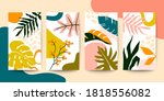set of abstract colorful floral ... | Shutterstock .eps vector #1818556082
