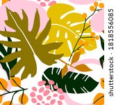 tropical seamless floral leaves ... | Shutterstock .eps vector #1818556085