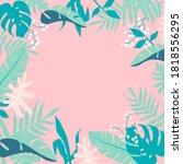 tropical jungle leaves frame on ... | Shutterstock .eps vector #1818556295