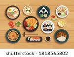 Japanese Food On Top View...