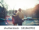 young modern stylish couple... | Shutterstock . vector #181863902