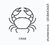 Crab Flat Line Icon. Vector...