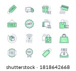 free label line icons. vector... | Shutterstock .eps vector #1818642668