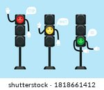 cartoon traffic lights. safety... | Shutterstock .eps vector #1818661412