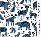 scandinavian animals seamless... | Shutterstock .eps vector #1818661418