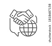 diplomacy black line icon. soft ...