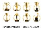 trophy cup with golden laurel.... | Shutterstock .eps vector #1818710825