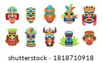 ethnic masks. traditional... | Shutterstock .eps vector #1818710918