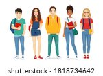 multiethnic young people in... | Shutterstock .eps vector #1818734642