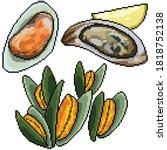 pixel art set isolated clam...   Shutterstock .eps vector #1818752138