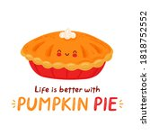 cute happy funny pumpkin pie....   Shutterstock .eps vector #1818752552