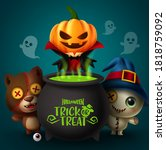 happy halloween vector banner... | Shutterstock .eps vector #1818759092