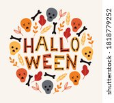 halloween card with colorful... | Shutterstock .eps vector #1818779252