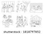 family home activity set  ... | Shutterstock .eps vector #1818797852