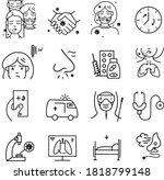 vector coronavirus icons with... | Shutterstock .eps vector #1818799148