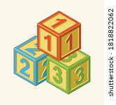 toy building cube. bright... | Shutterstock .eps vector #1818822062