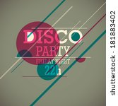 disco party background. vector... | Shutterstock .eps vector #181883402