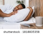 Oversleeping Concept. African...