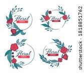 doodle floral frames with... | Shutterstock .eps vector #1818851762