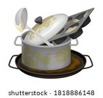 stack of dirty dishes and...   Shutterstock .eps vector #1818886148