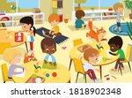 female preschool nursery nurse  ... | Shutterstock .eps vector #1818902348