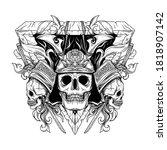 tattoo and t shirt design black ... | Shutterstock .eps vector #1818907142