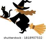 illustration of  a black cat... | Shutterstock .eps vector #1818907532