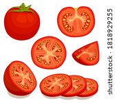 set of tomatoes isolated on... | Shutterstock .eps vector #1818929255