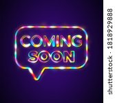 coming soon sign banner rainbow ... | Shutterstock . vector #1818929888