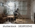 asian woman cyclist. she is...   Shutterstock . vector #1818933542