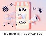 shopping cart for sale banner...   Shutterstock .eps vector #1819024688