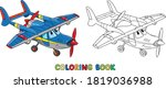 funny light aircraft plane with ...   Shutterstock .eps vector #1819036988