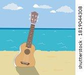 guitar on the beach against the ...   Shutterstock .eps vector #1819044308