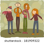 happy friendly family mother ... | Shutterstock .eps vector #181909322