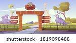 jurassic park gates with... | Shutterstock .eps vector #1819098488