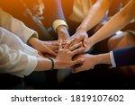 people putting their hands... | Shutterstock . vector #1819107602