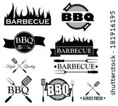 set of bbq icons isolated on...   Shutterstock .eps vector #181916195