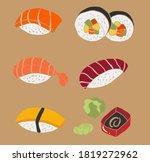 japanese food sushi set vector... | Shutterstock .eps vector #1819272962
