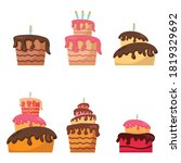 set of birthday cakes isolated... | Shutterstock .eps vector #1819329692